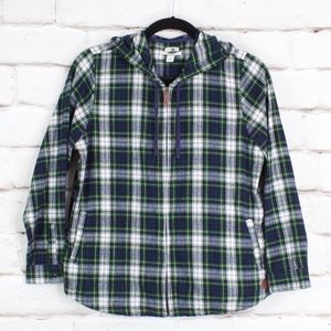 LL Bean Soft Flannel Hooded Light Jacket Shirt XL